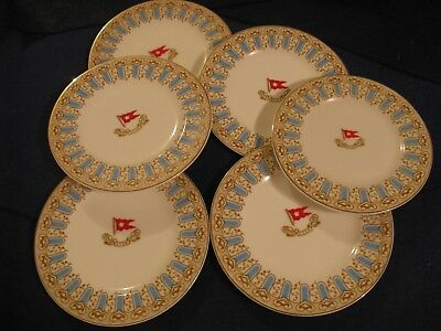 """WHITE STAR LINE """"TITANIC"""" Turquoise & Brown First Class only Pattern...6 PLATES"""