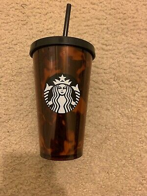 STARBUCKS COLD CUP Black/Brown Tortoise Shell PRINT TUMBLER 16 OZ Matte BLk RARE