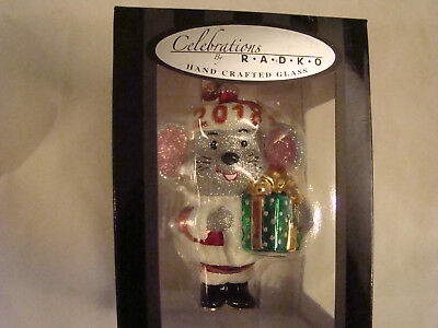 """New 2018 Christopher Radko Celebrations Dated Christmas Mouse Glass Ornament 5"""""""