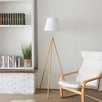 Tripod Floor Lamp Natural Wood Color White Fabric Shade On-Off Foot Switch