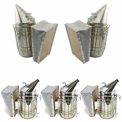 Set of 5 Bee Hive Smoker Stainless Steel w. Heat Shield Beekeeping Equipment