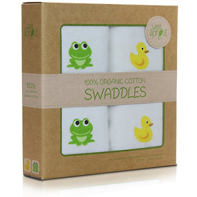 WeeSprout Organic Cotton Muslin 47-by-47-Inch Swaddle Blankets, Pack of 2
