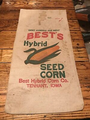 Best's Hybrid Seed Corn Sack Tennant Iowa Vintage Farm Bag Cloth Feed