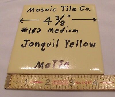 "1 pc. Vintage *Jonquil Yellow* Matte Ceramic Tiles  4-3/8"" by Mosaic Tile  NOS"