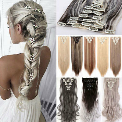 100% Natural Clip in Hair Extensions 8 Pieces Full Head Long Thick as Human HYT8