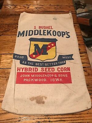 Middlekoop's Hybrid Seed Corn Sack Bag Feed Farm Packwood Iowa