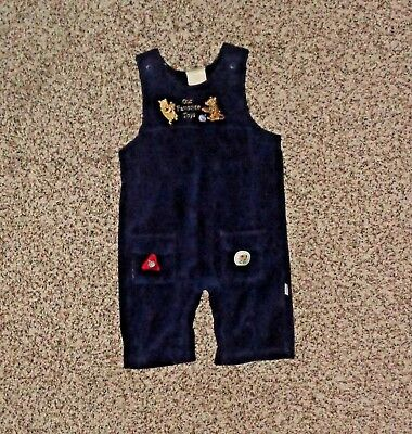 Classic Pooh Baby Boys Navy Blue Bib Overalls Pooh Tigger 3 Months EUC Velour