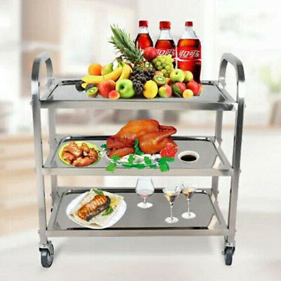 3 Tier Stainless Steel Trolley Cart Hotel Restaurant Serving Catering Train Café