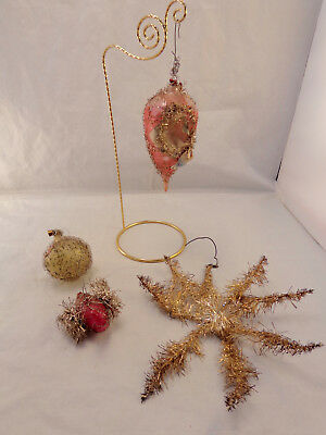 Antique 4pc Lot WIRE WRAPPED Hand Blown Glass Ornaments Indent Swan Tinsel Star