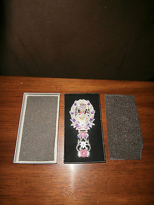 "Nib-7"" Silvertone Handheld Mirror.Ornate Floral Mirror.Jeweled Ladybug Mirror"
