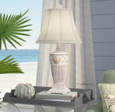 "Coastal Beach Cottage Table Lamp 30"" Seashells Starfish Seahorse Accent Lighting"