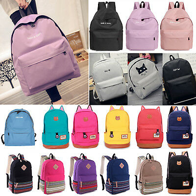 Womens Girls Canvas Backpack Rucksack Travel Shoulder College Schoolbag Book Bag