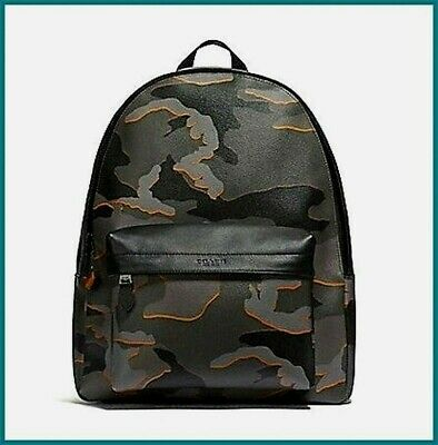 Nwt Coach Charles Men's Backpack (F31557) Camo Grey Multi Antique Nickel X-Large