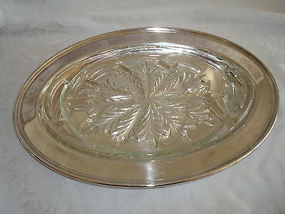 """Viking Silver Plate  Meat Tray Platter & Glass Liner 14"""""""