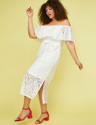 45af6321a8 New Lane Bryant White Lace Off The Shoulder Fit And Flare Dress Size 14 16