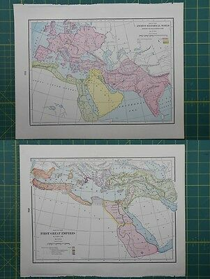 Historical World First Great Empires Vintage Original 1895 Crams World Atlas Map
