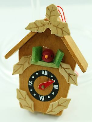 Vintage Wooden Cuckoo Clock Christmas Ornament Holiday Decoration