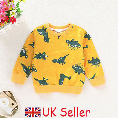 UK Kids Baby Boys Girl Top T Shirt Dinosaurs Novelty Sweat Pullover Jumper 1-7Y
