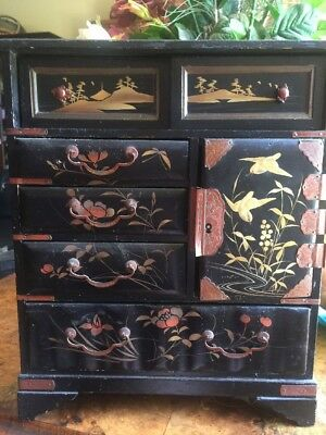 Japanese Chinese Trinket Jewellery Box Lacquer Hand Painted Vintage Antique