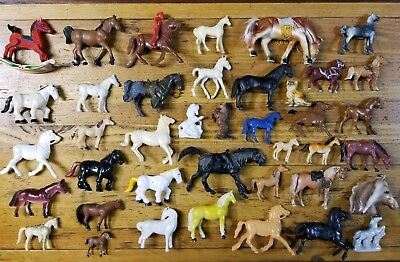 VINTAGE Miniature Horse Figures Lot • Antique Ceramic Metal Poly Model Horses