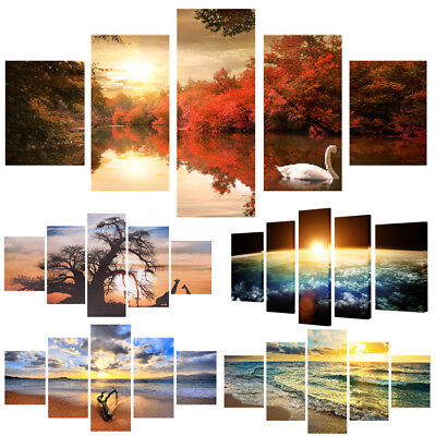 5PCS Modern Sea Animal Tree Art Style Home Wall Oil Painting Canvas Print Frame