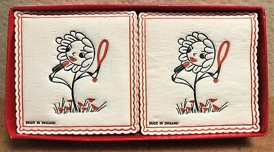 """18-Vintage Paper Coasters ANTHROPOMORPHIC Made in England 3 3/8""""x3 1/2"""""""