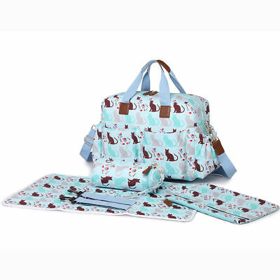 4pcs Cat Print Maternity Mummy Changing Large Bag Baby Diaper Nappy  Oilcloth