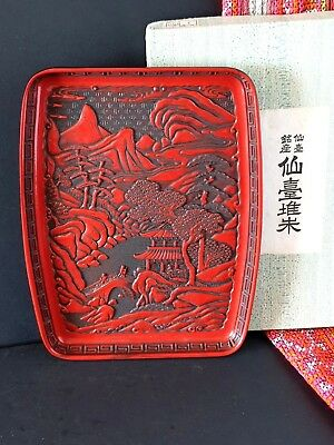Old Japanese Red Lacquered Tray …beautiful collection item
