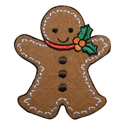 Gingerbread Man Christmas Applique Patch - Holly and Berries (Iron on)