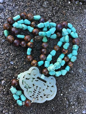 Chinese Republic Carved White Jade Pendant W Turquoise Beads Antique Necklace