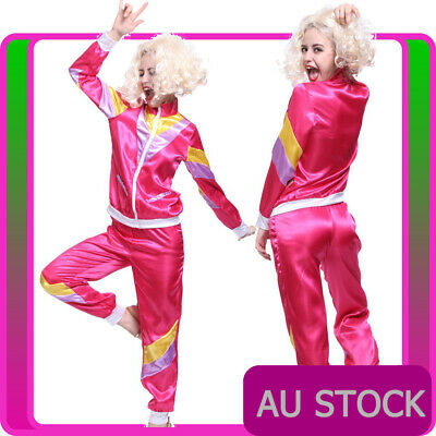 Womens 80s Retro Neon Tracksuit Height Of Fashion Pink Costume 1980s Shell Suit