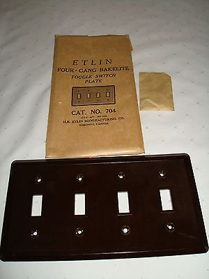 Vintage Etlin Bakelite 4 Gang Brown Ribbed Toggle Wall Plate New Old Stock 704