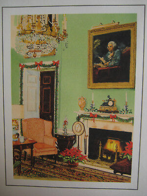 1988 Reagan White House Collection CHRISTMAS card Fireside In The Green Room
