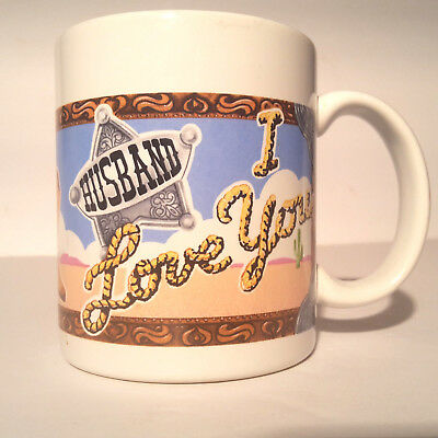 Husband I Love You Coffee Mug by Avon Products Cowgirl Western Theme Vintage