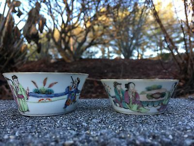 Group Of Two Chinese Qing Period Hand Painted Famille Rose Antique Cups