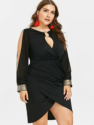 Plus Size Keyhole Neck Slit Sequined Long Sleeve Women's sexy Bodycon Mini Dress
