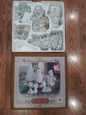 New In Box GRANDEUR NOEL Porcelain Snowman Family Collector's Edition 2000