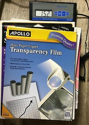 Lot of 15 LB of Transparency Film Apollo, 3M, HP Open Boxes Please see pictures