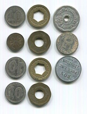 Lot of 11 Vintage German and  Italian WWII Tokens Germany Itay