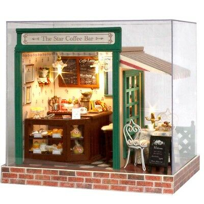 Wooden Handcraft Miniature The Star Coffee Bar Music Dolls House DIY Kid Gift au