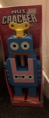 UK ROBOT NUTCRACKER BLUE Wooden Nut Cracker Retro,