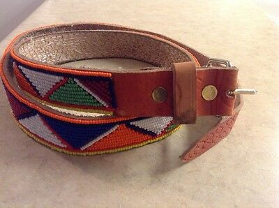 African-Arena Maasai Masai Handcrafted Ethnic Tribal Beaded Leather Belt AA261