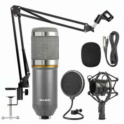 BM-800 Condenser Microphone Studio Recording Mic W/ Stand Shock Mount US NEW