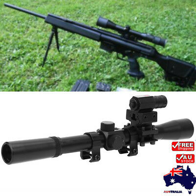 Black Tactical Air Rifle 4x20 Optic Scope W/ Red Dot Sight for Rail Mount 1PC EB