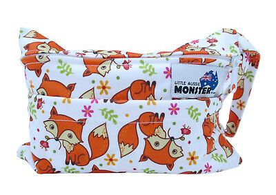 Fox & Flowers Mini Wet Bag - for cloth breast pads mumma cloth with double zip