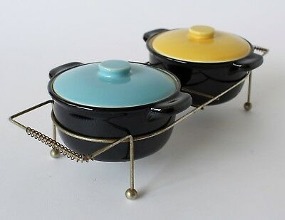 Vintage Retro 50s/60s CERAMIC LIDDED DISHES/RAMEKINS on Wire Caddy MID CENTURY