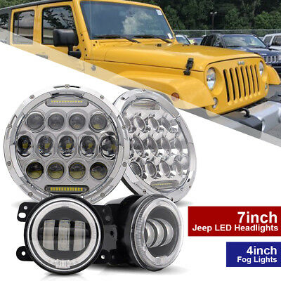"7inch LED Headlight DRL Headlamp + 4"" Fog Light Kit For Jeep Wrangler JK"