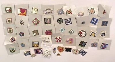Quilters Lapel Hat Pin Lot 47 Pc Flying Geese Craft Stitch Awards