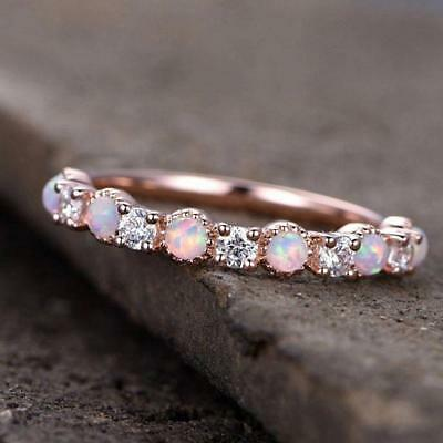 BN 14K Rose Gold Ring High Quality Round Cut Diamond Jewelry Opal Rings Gift LM
