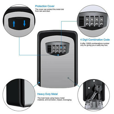 4 Digit Key Lock Box High Security Hide Key Safe Storage Wall Mounted Case